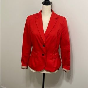 Red cropped fitted two button cotton blazer
